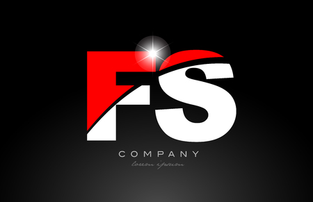 red white color alphabet letter combination fs f s logo icon design suitable for a company or business