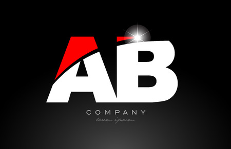 red white color alphabet letter combination ab a b logo icon design suitable for a company or business Illustration