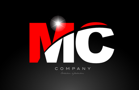 red white color alphabet letter combination mc m c logo icon design suitable for a company or business 스톡 콘텐츠 - 116907165