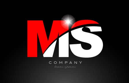 red white color alphabet letter combination ms m s logo icon design suitable for a company or business