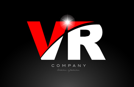 red white color alphabet letter combination vr v r logo icon design suitable for a company or business