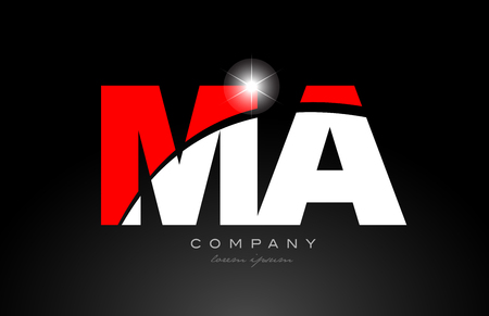 red white color alphabet letter combination ma m a logo icon design suitable for a company or business Logo