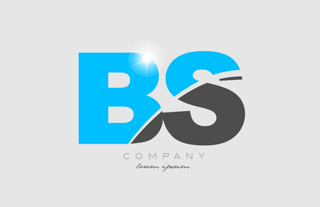 combination letter bs b s in grey blue color alphabet logo icon design suitable for a company or business Ilustração