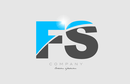combination letter fs f s in grey blue color alphabet logo icon design suitable for a company or business