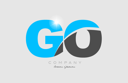 combination letter go g o in grey blue color alphabet logo icon design suitable for a company or business