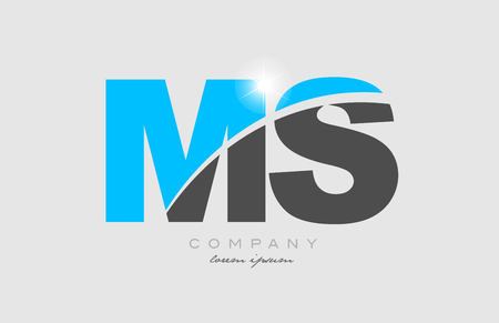 combination letter ms m s in grey blue color alphabet logo icon design suitable for a company or business Illustration