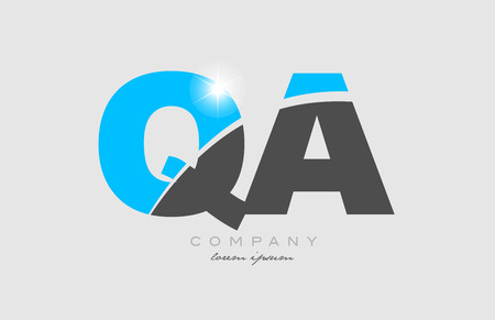 combination letter qa q a in grey blue color alphabet logo icon design suitable for a company or business