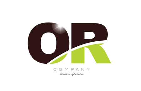 letter or o r alphabet combination logo icon design with green and brown color suitable for a company or business Ilustração
