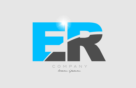 combination letter er e r in grey blue color alphabet logo icon design suitable for a company or business