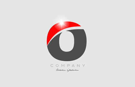 letter o in grey red color alphabet logo icon design suitable for a company or business
