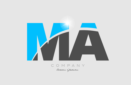 combination letter ma m a in grey blue color alphabet logo icon design suitable for a company or business