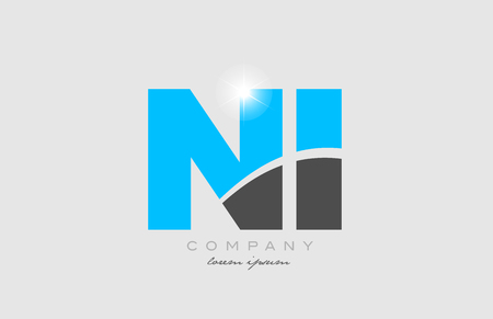 combination letter ni n i in grey blue color alphabet logo icon design suitable for a company or business