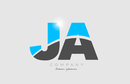 combination letter ja j a in grey blue color alphabet logo icon design suitable for a company or business