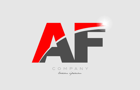 combination letter af a f in grey red color alphabet logo icon design suitable for a company or business