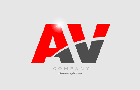 combination letter av a v in grey red color alphabet logo icon design suitable for a company or business Illustration