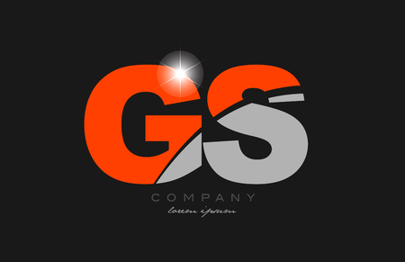 combination letter gs g s in grey orange color alphabet logo icon design suitable for a company or business Illusztráció