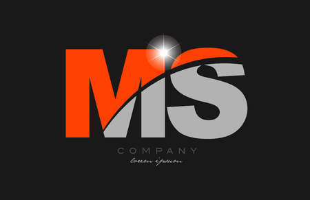 combination letter ms m s in grey orange color alphabet logo icon design suitable for a company or business