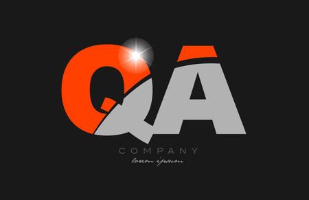 combination letter qa q a in grey orange color alphabet logo icon design suitable for a company or business