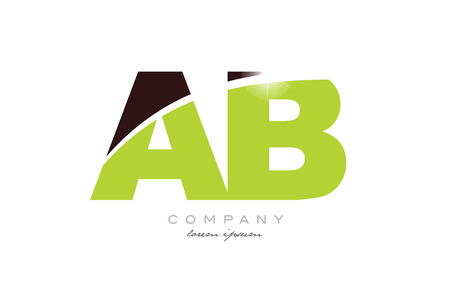 letter ab a b alphabet combination logo icon design with green and brown color suitable for a company or business Illustration