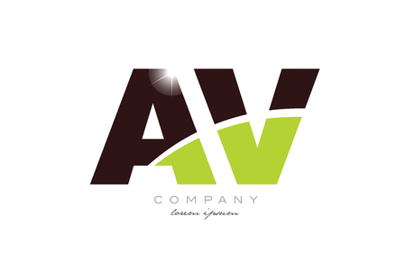 letter av a v alphabet combination logo icon design with green and brown color suitable for a company or business Stock Vector - 116907588