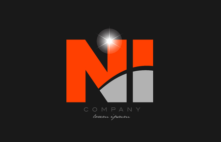 combination letter ni n i in grey orange color alphabet logo icon design suitable for a company or business