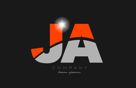 combination letter ja j a in grey orange color alphabet logo icon design suitable for a company or business
