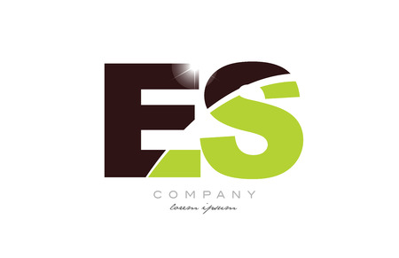 letter es e s alphabet combination logo icon design with green and brown color suitable for a company or business