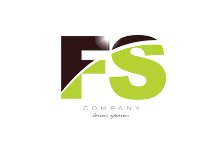 letter fs f s alphabet combination logo icon design with green and brown color suitable for a company or business Ilustração