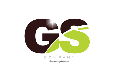 letter gs g s alphabet combination logo icon design with green and brown color suitable for a company or business Illusztráció