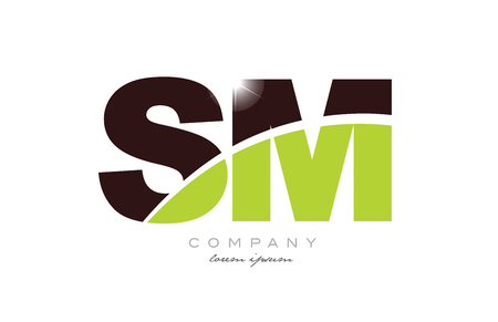 letter sm s m alphabet combination logo icon design with green and brown color suitable for a company or business