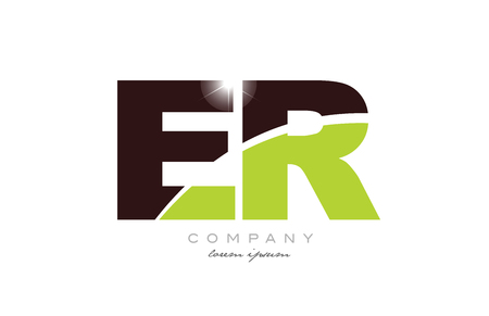 letter er e r alphabet combination logo icon design with green and brown color suitable for a company or business