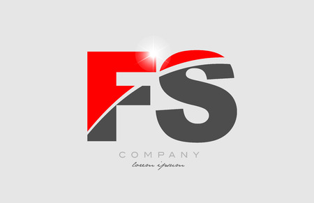 combination letter fs f s in grey red color alphabet logo icon design suitable for a company or business Ilustração