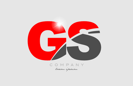 combination letter gs g s in grey red color alphabet logo icon design suitable for a company or business