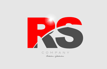 combination letter rs r s in grey red color alphabet logo icon design suitable for a company or business