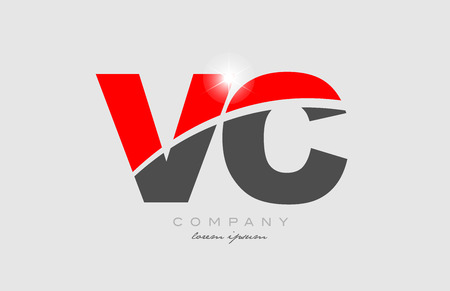 combination letter vc v c in grey red color alphabet logo icon design suitable for a company or business 矢量图像