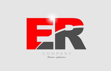 combination letter er e r in grey red color alphabet logo icon design suitable for a company or business