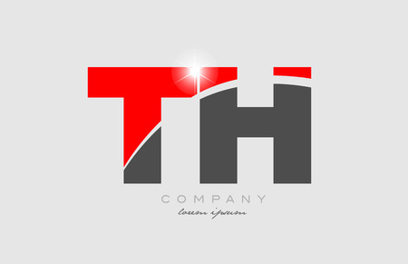 combination letter th t h in grey red color alphabet logo icon design suitable for a company or business Logó