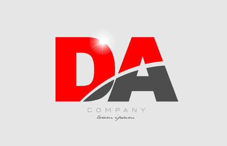 combination letter da d a in grey red color alphabet logo icon design suitable for a company or business Stock Illustratie