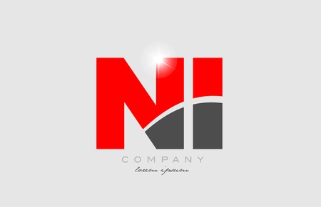 combination letter ni n i in grey red color alphabet logo icon design suitable for a company or business Illustration