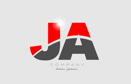 combination letter ja j a in grey red color alphabet logo icon design suitable for a company or business Illustration