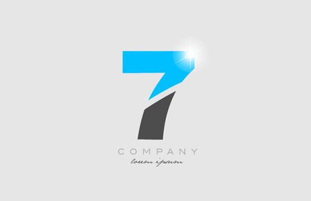 number 7 in grey blue color logo icon design suitable for a company or business