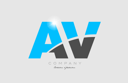 combination letter av a v in grey blue color alphabet logo icon design suitable for a company or business