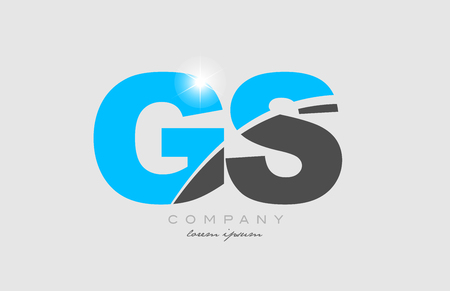 combination letter gs g s in grey blue color alphabet logo icon design suitable for a company or business
