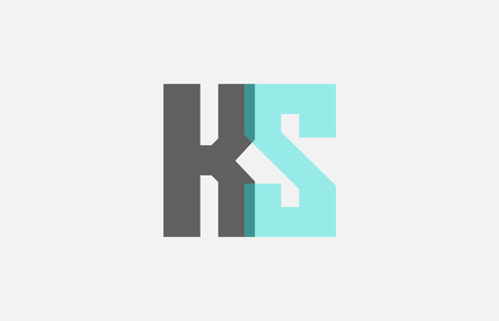 grey pastel blue alphabet letter KS K S logo combination design suitable for a company or business Ilustrace