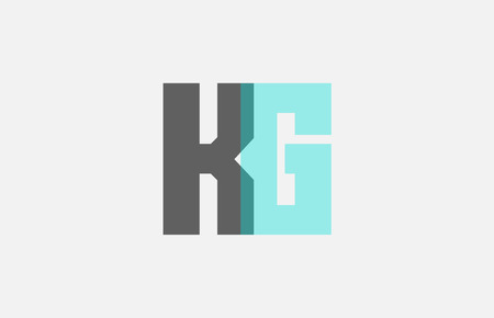 grey pastel blue alphabet letter KG K G logo combination design suitable for a company or business Illustration