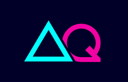 blue pink colorful alphabet letter logo combination aq a q design suitable for a company or business Illustration