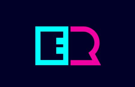 ER E R blue pink colorful alphabet alphabet letter logo combination design suitable for a company or business Logó