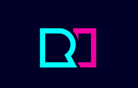 RI R I blue pink colorful alphabet alphabet letter logo combination design suitable for a company or business