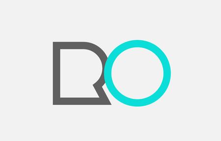 blue grey alphabet letter logo combination ro r o design suitable for a company or business Ilustração