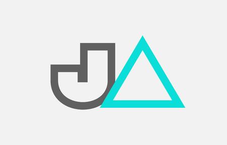 blue grey alphabet letter logo combination ja j a design suitable for a company or business